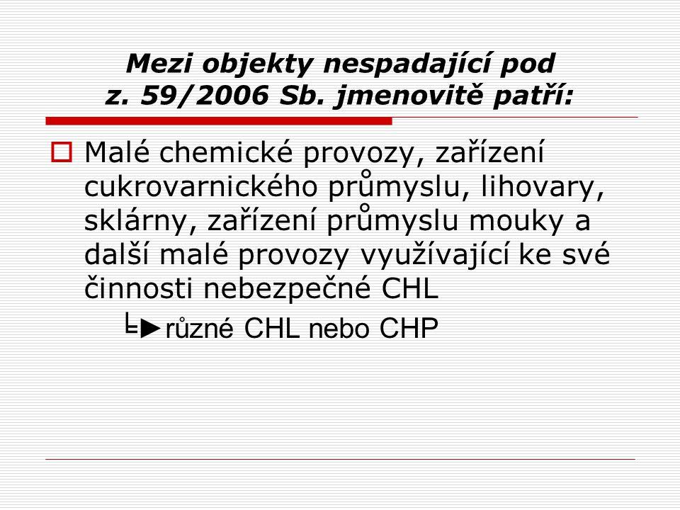 Mezi objekty nespadající pod z. 59/2006 Sb. jmenovitě patří: