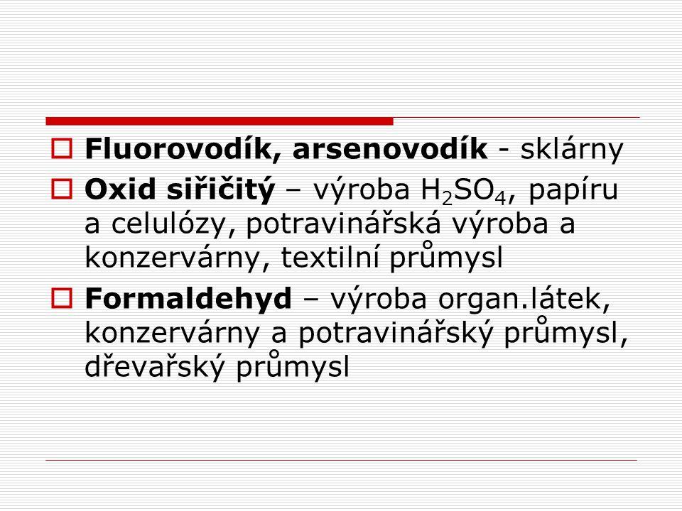 Fluorovodík, arsenovodík - sklárny