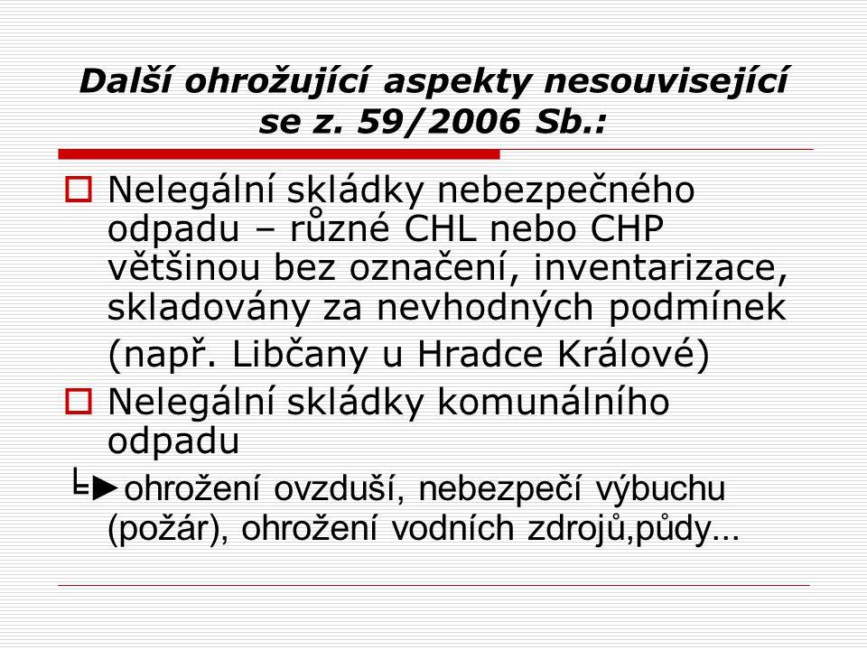 Další ohrožující aspekty nesouvisející se z. 59/2006 Sb.: