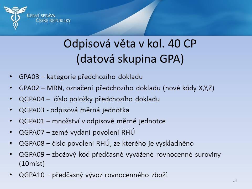 Odpisová věta v kol. 40 CP (datová skupina GPA)