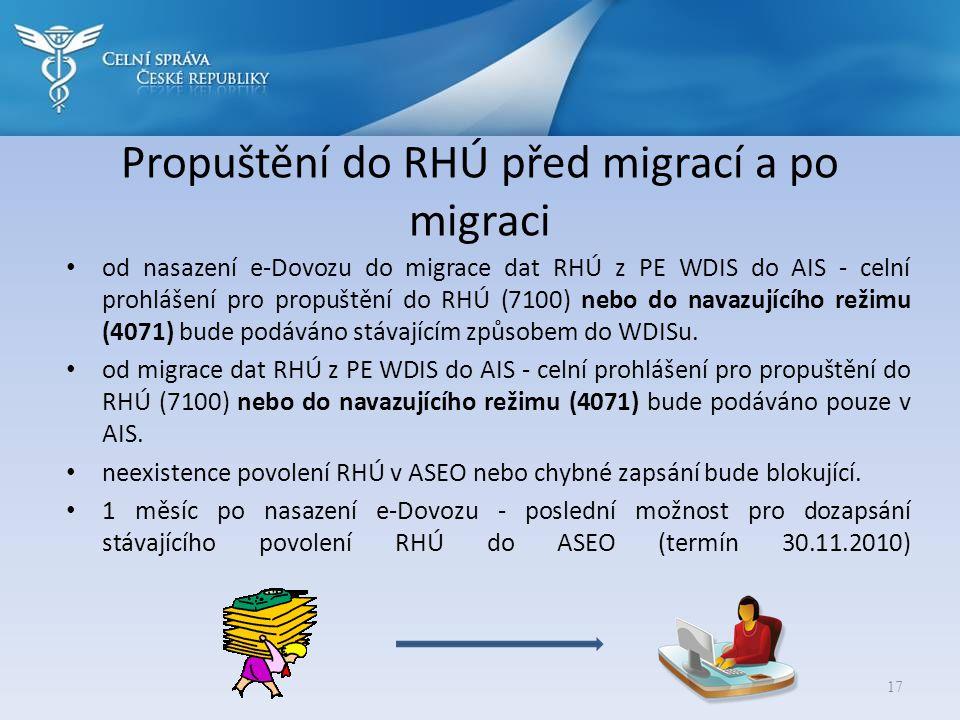 Propuštění do RHÚ před migrací a po migraci