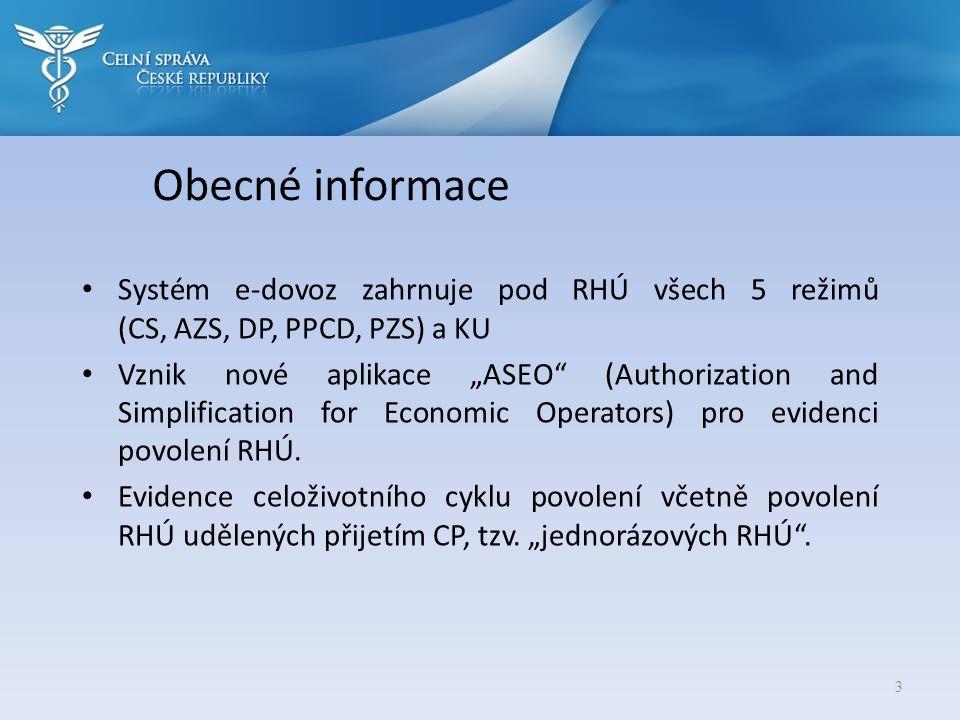Obecné informace Systém e-dovoz zahrnuje pod RHÚ všech 5 režimů (CS, AZS, DP, PPCD, PZS) a KU.