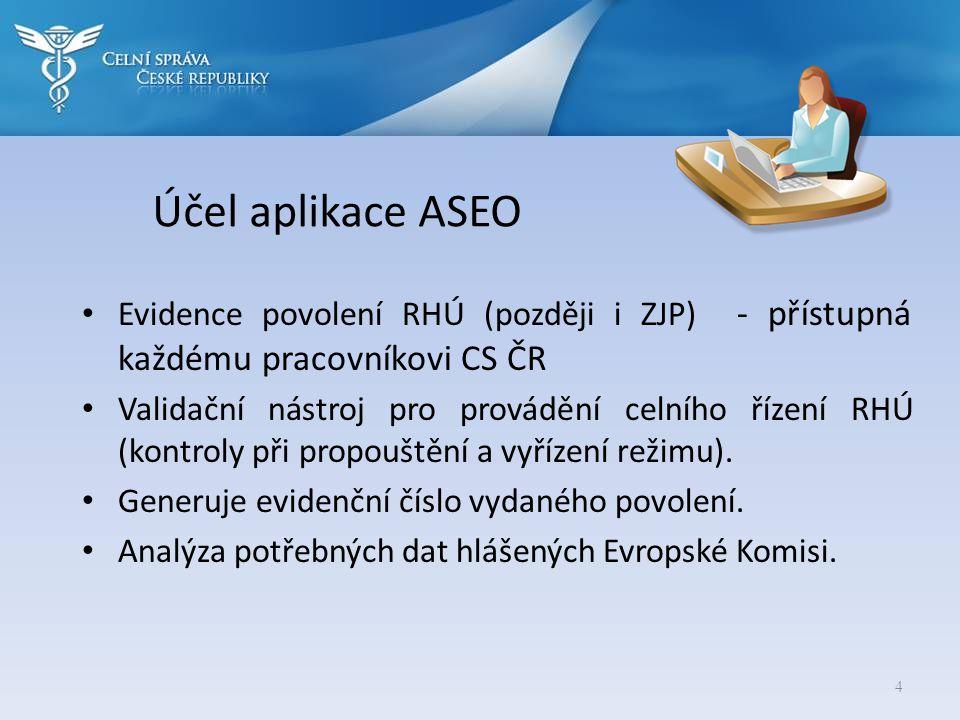 Účel aplikace ASEO Evidence povolení RHÚ (později i ZJP) - přístupná každému pracovníkovi CS ČR.