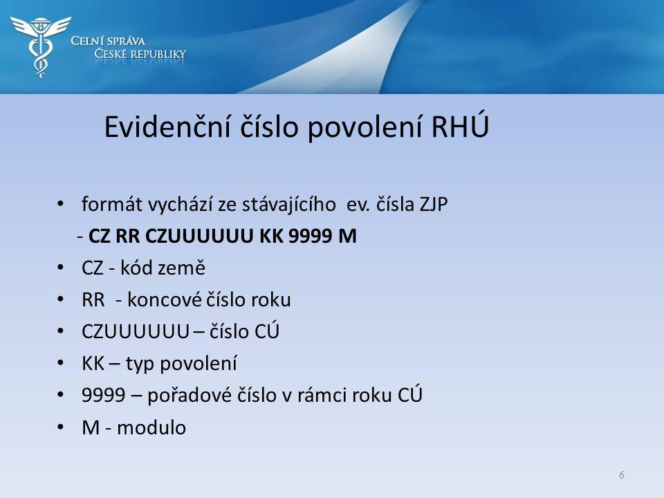 Evidenční číslo povolení RHÚ