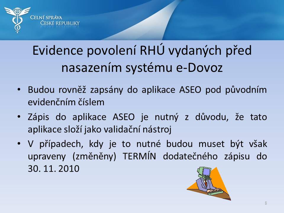Evidence povolení RHÚ vydaných před nasazením systému e-Dovoz