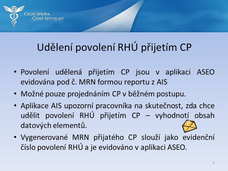 Udělení povolení RHÚ přijetím CP