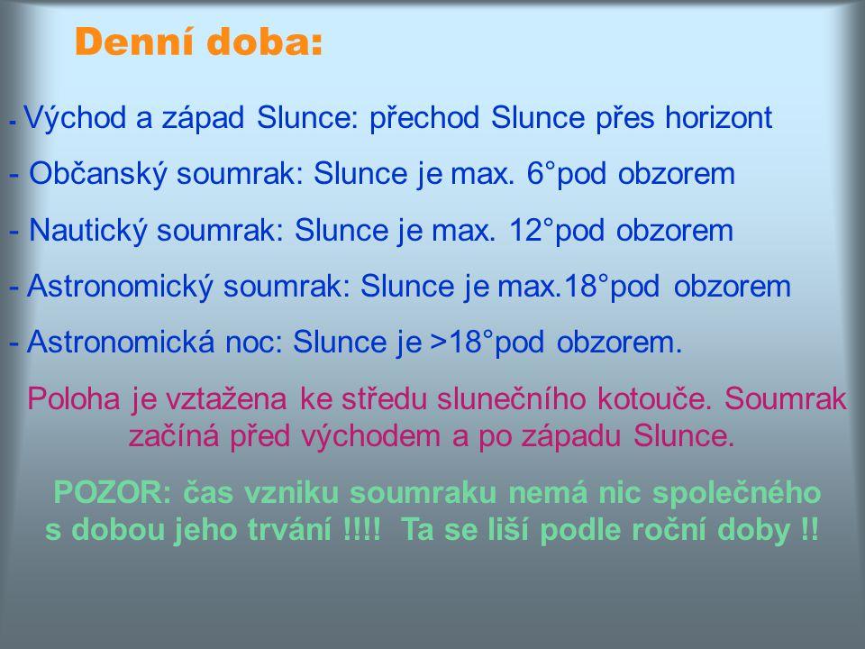 Denní doba: Občanský soumrak: Slunce je max. 6°pod obzorem