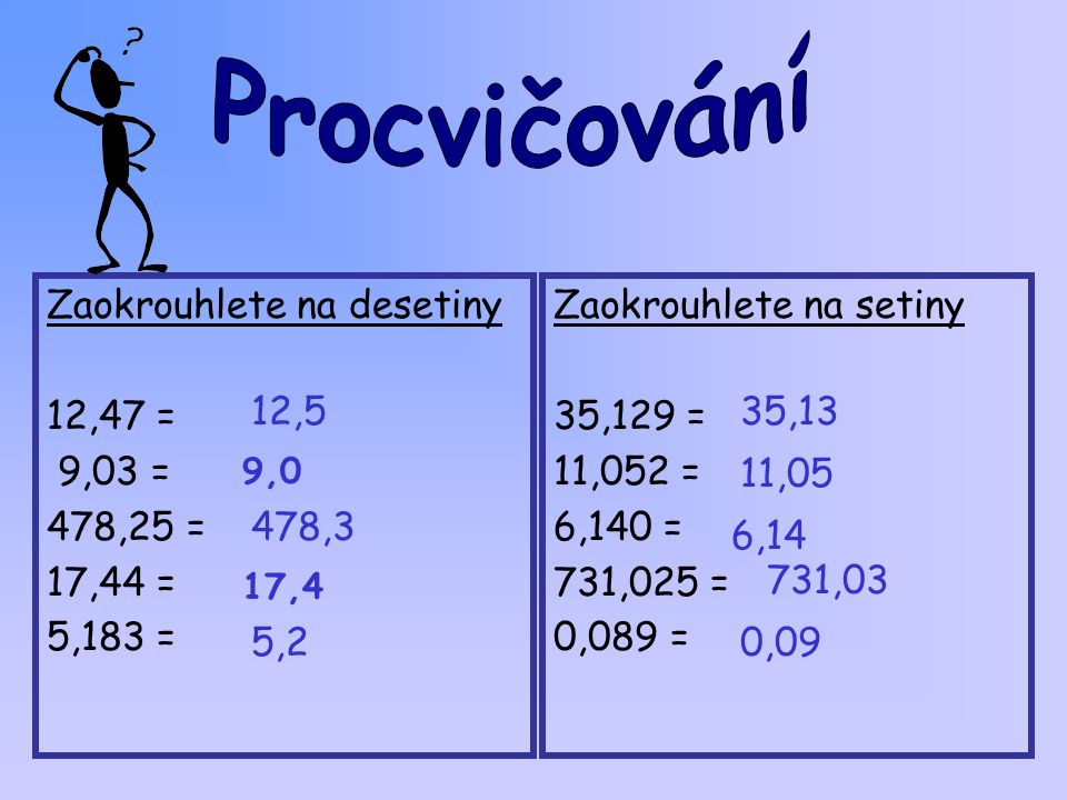 Zaokrouhlete na desetiny 12,47 = 9,03 = 478,25 = 17,44 = 5,183 =