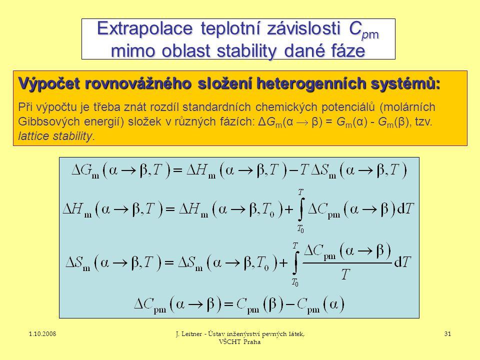 Extrapolace teplotní závislosti Cpm mimo oblast stability dané fáze