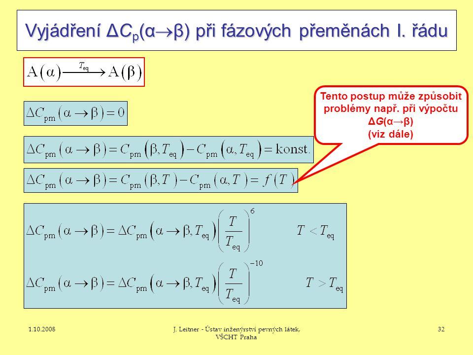 Tento postup může způsobit problémy např. při výpočtu ΔG(α→β)