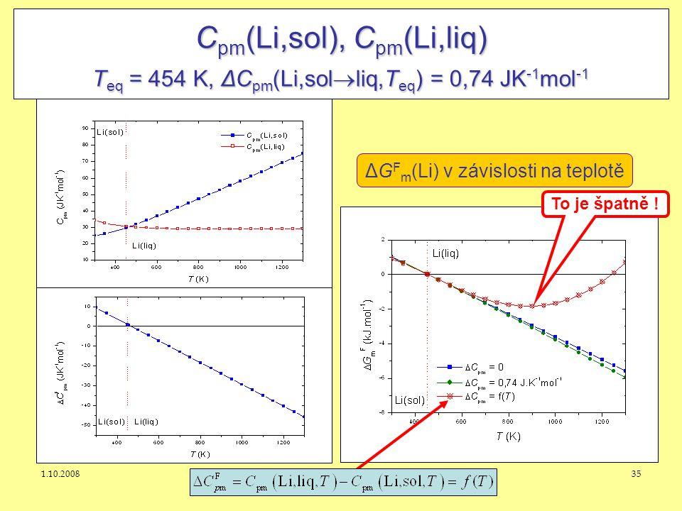 Cpm(Li,sol), Cpm(Li,liq) Teq = 454 K, ΔCpm(Li,solliq,Teq) = 0,74 JK-1mol-1