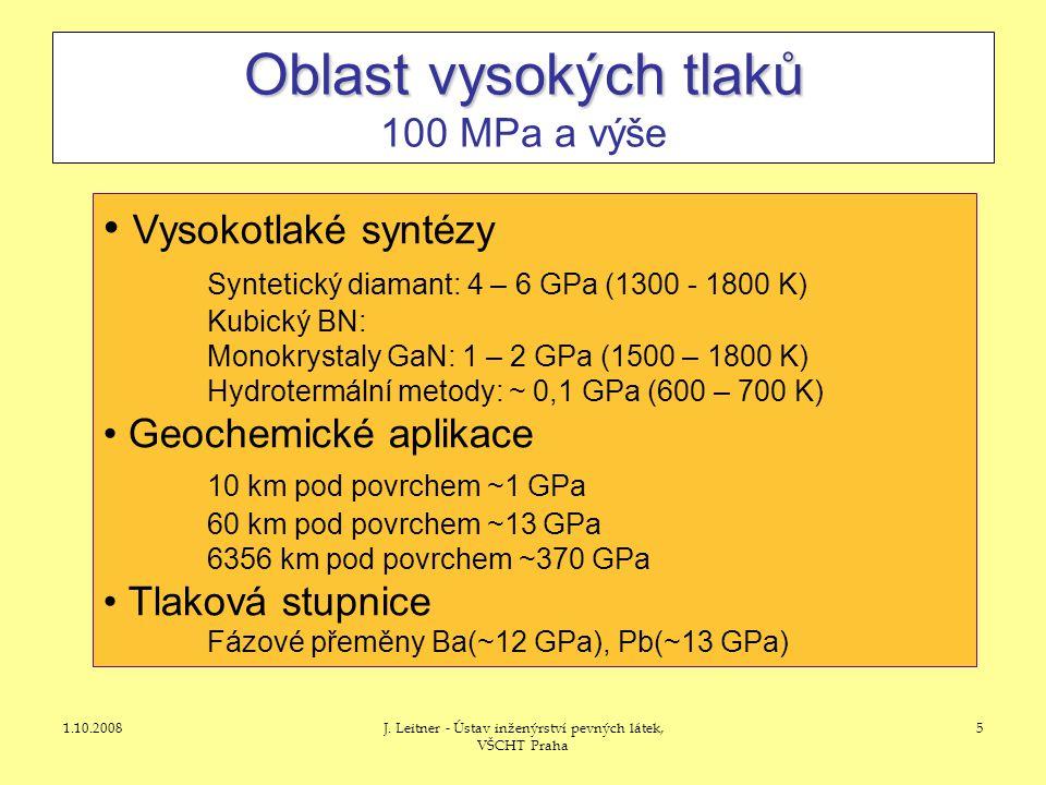 Oblast vysokých tlaků 100 MPa a výše