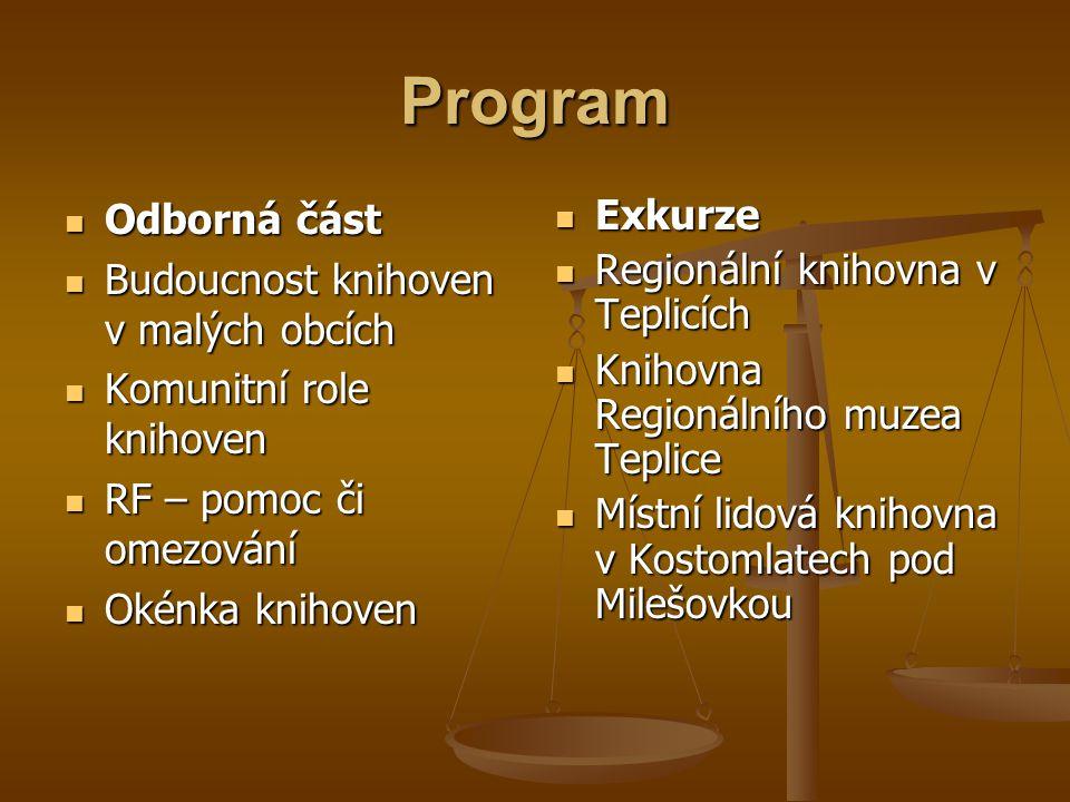Program Odborná část Budoucnost knihoven v malých obcích