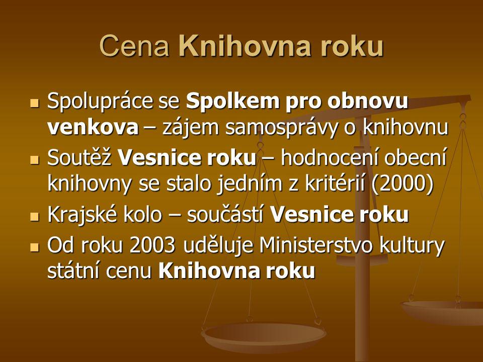 Cena Knihovna roku Spolupráce se Spolkem pro obnovu venkova – zájem samosprávy o knihovnu.