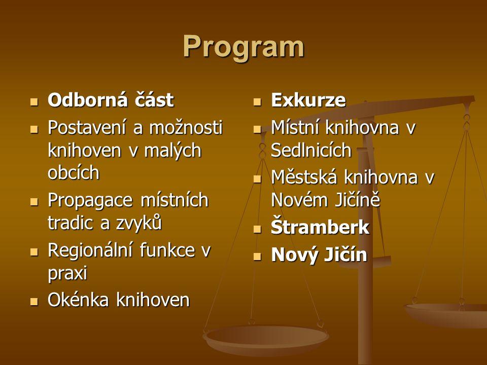 Program Odborná část Postavení a možnosti knihoven v malých obcích