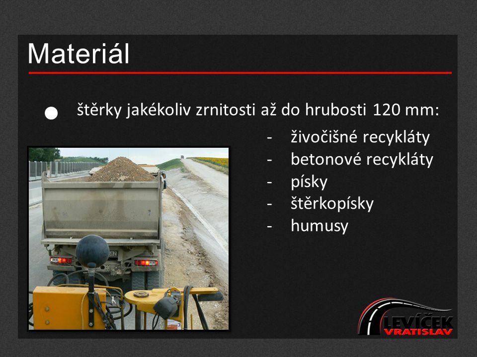 Materiál štěrky jakékoliv zrnitosti až do hrubosti 120 mm: