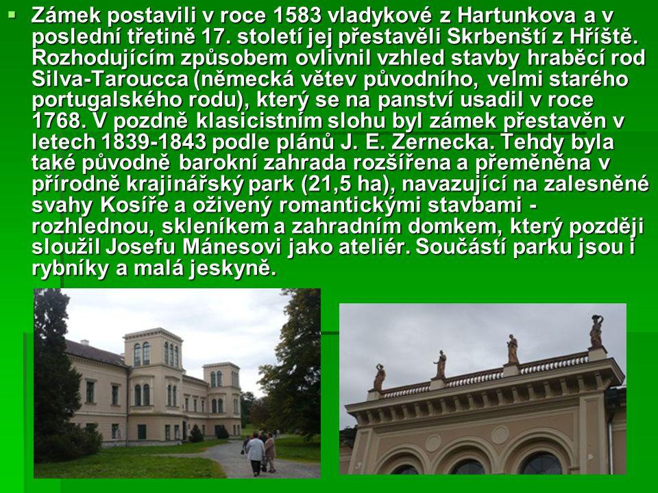 Zámek postavili v roce 1583 vladykové z Hartunkova a v poslední třetině 17.