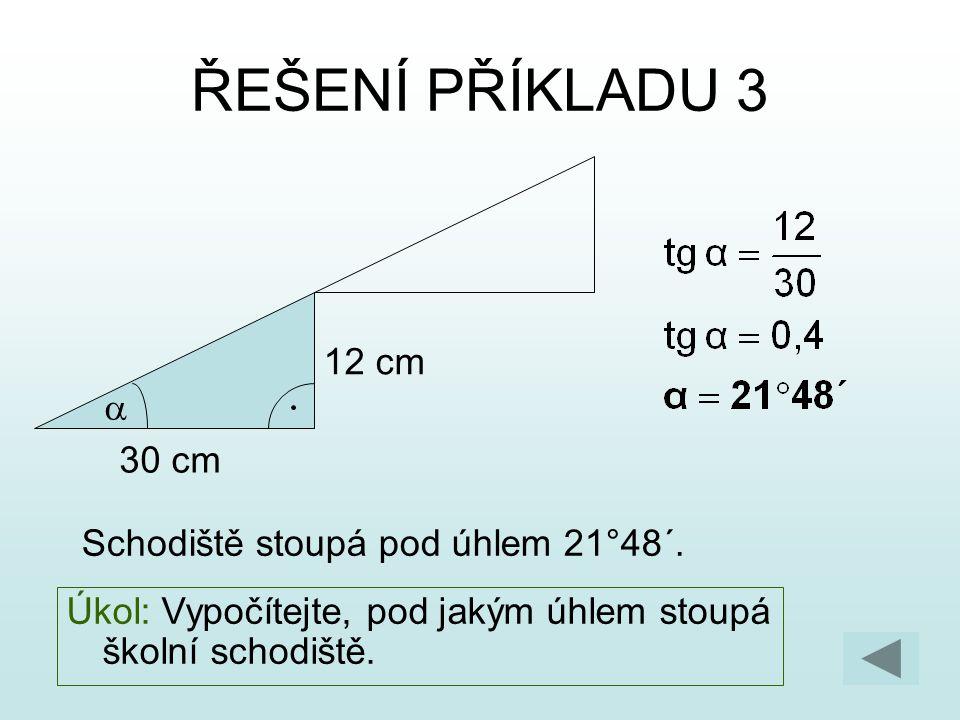 ŘEŠENÍ PŘÍKLADU 3 12 cm a 30 cm Schodiště stoupá pod úhlem 21°48´.