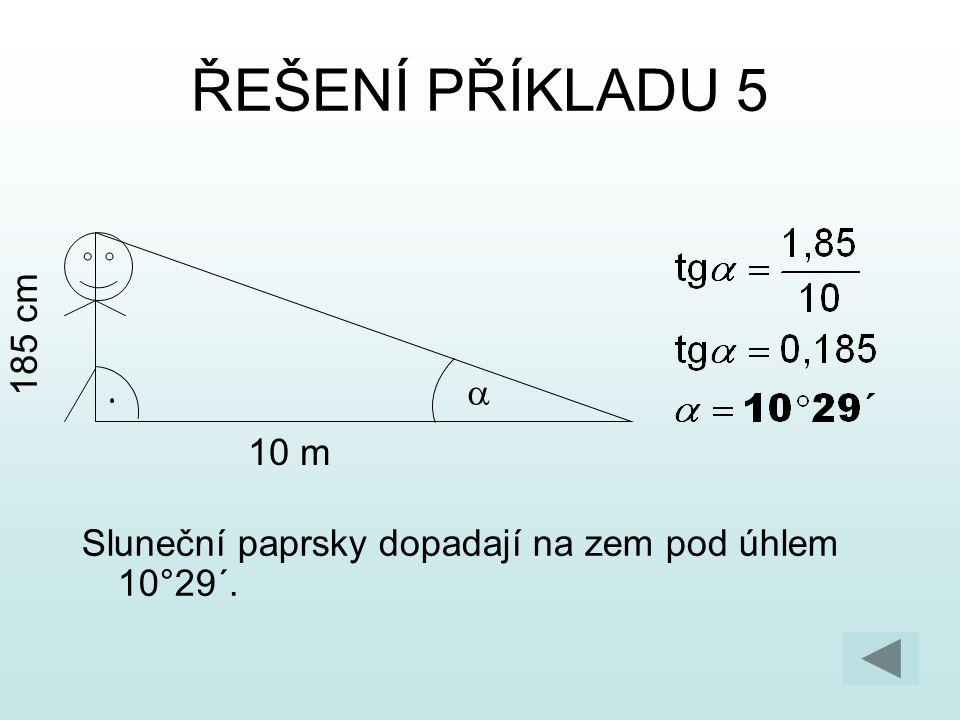 ŘEŠENÍ PŘÍKLADU 5 185 cm a 10 m Sluneční paprsky dopadají na zem pod úhlem 10°29´.