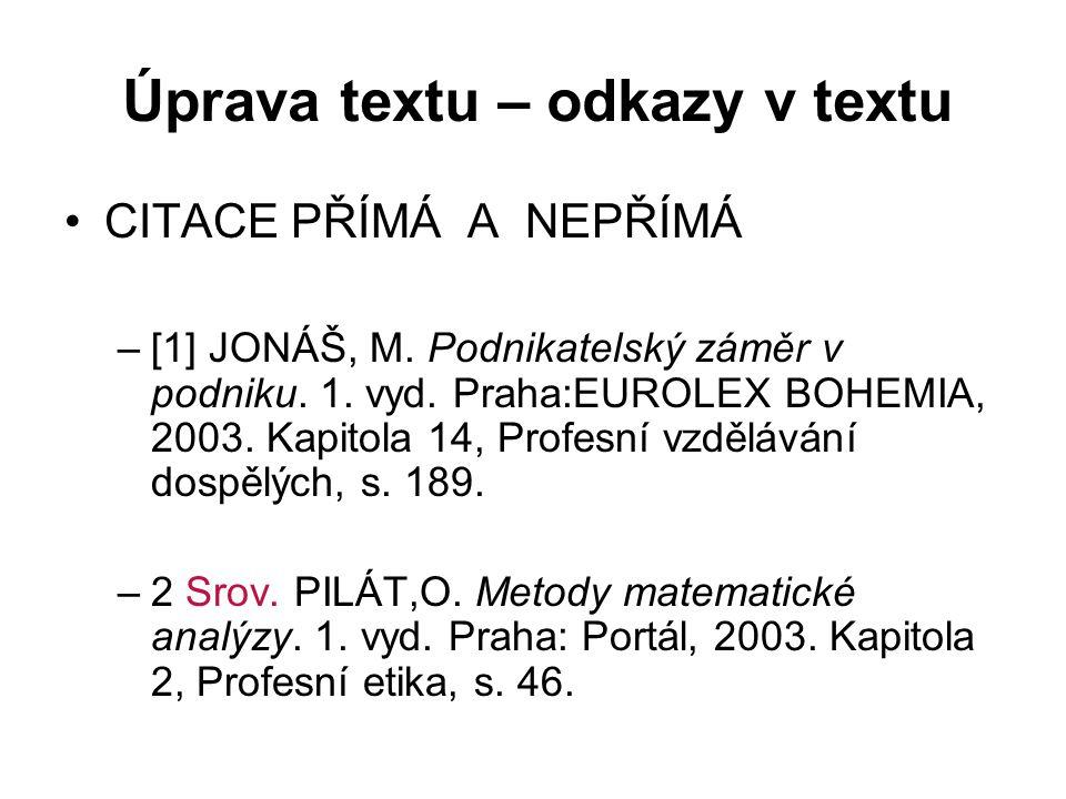 Úprava textu – odkazy v textu