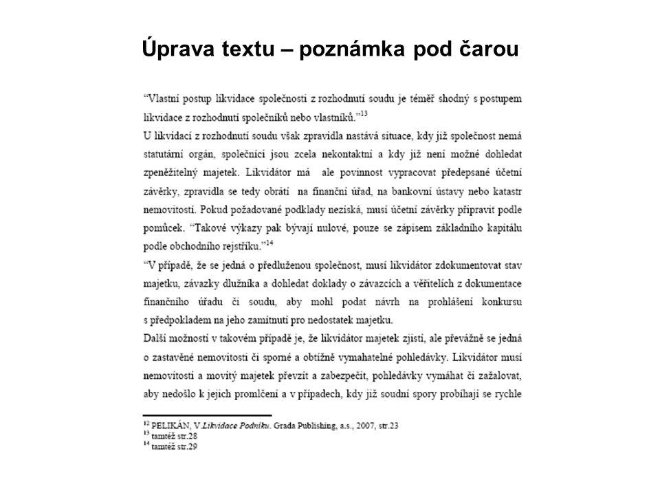 Úprava textu – poznámka pod čarou