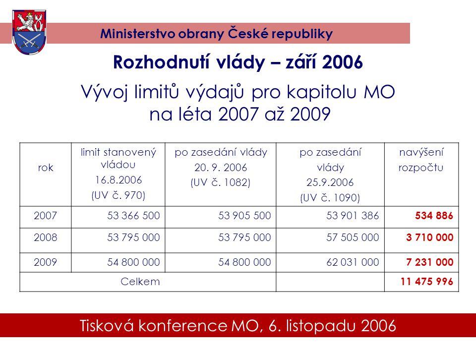 Rozhodnutí vlády – září 2006