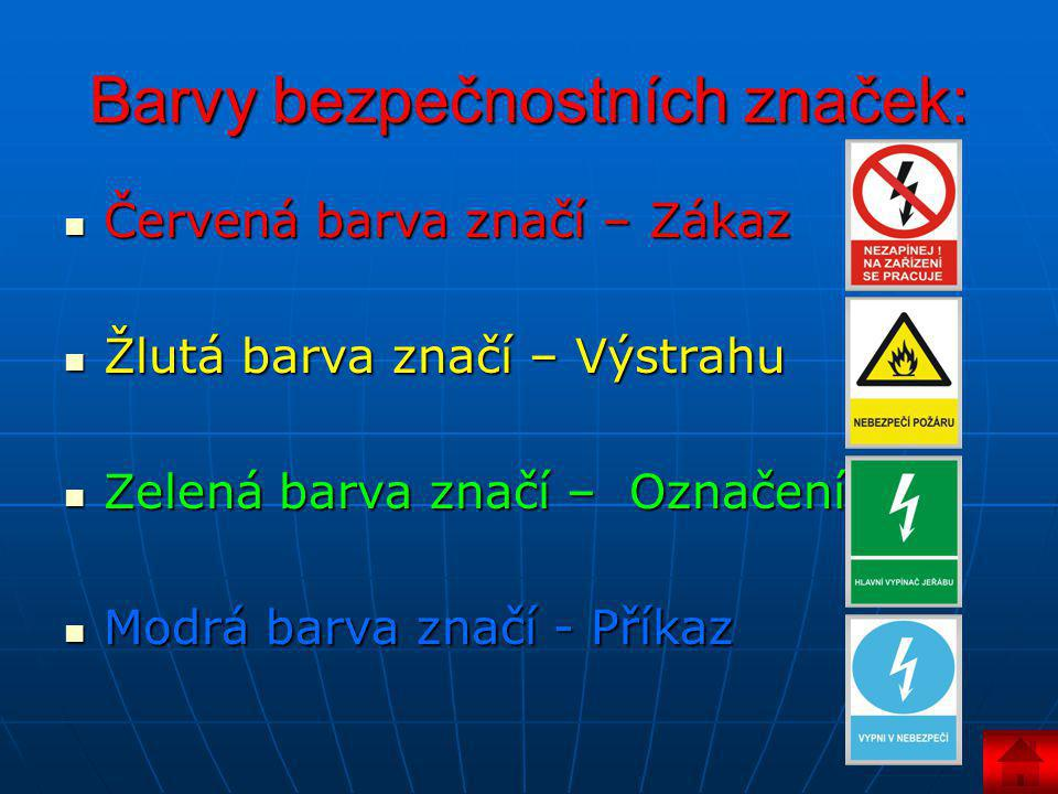 Barvy bezpečnostních značek: