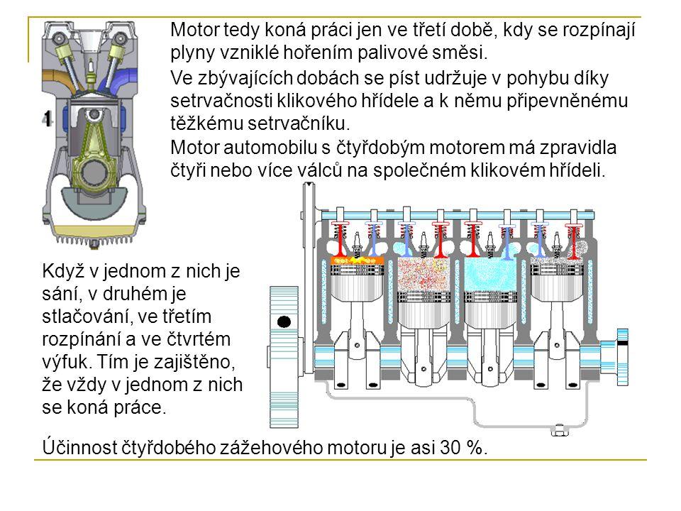 Motor tedy koná práci jen ve třetí době, kdy se rozpínají plyny vzniklé hořením palivové směsi.