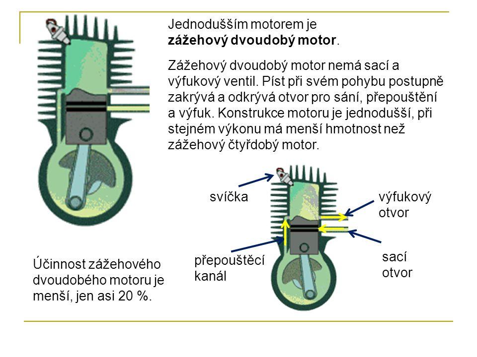 Jednodušším motorem je zážehový dvoudobý motor.