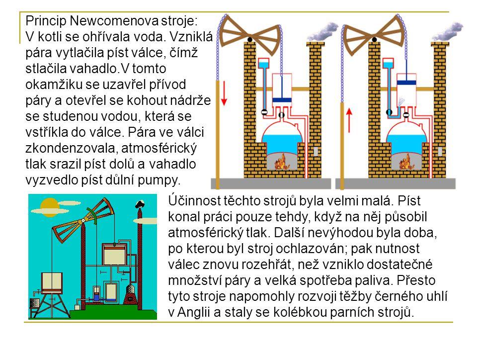 Princip Newcomenova stroje: V kotli se ohřívala voda