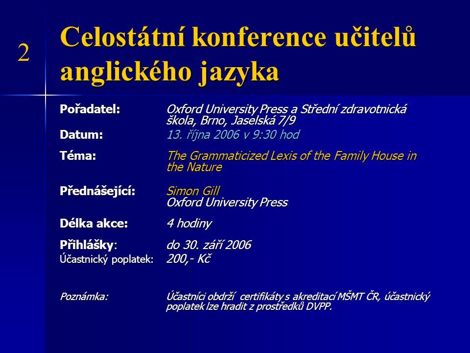 Celostátní konference učitelů anglického jazyka