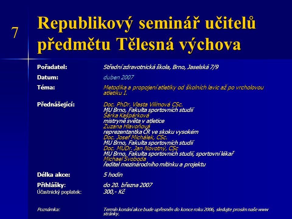 Republikový seminář učitelů předmětu Tělesná výchova