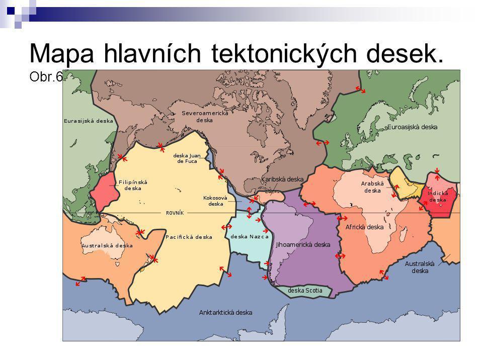Mapa hlavních tektonických desek. Obr.6