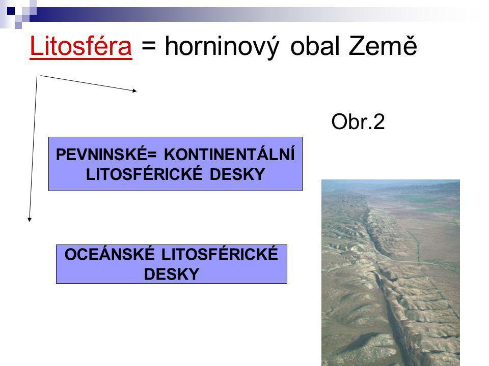 Litosféra = horninový obal Země