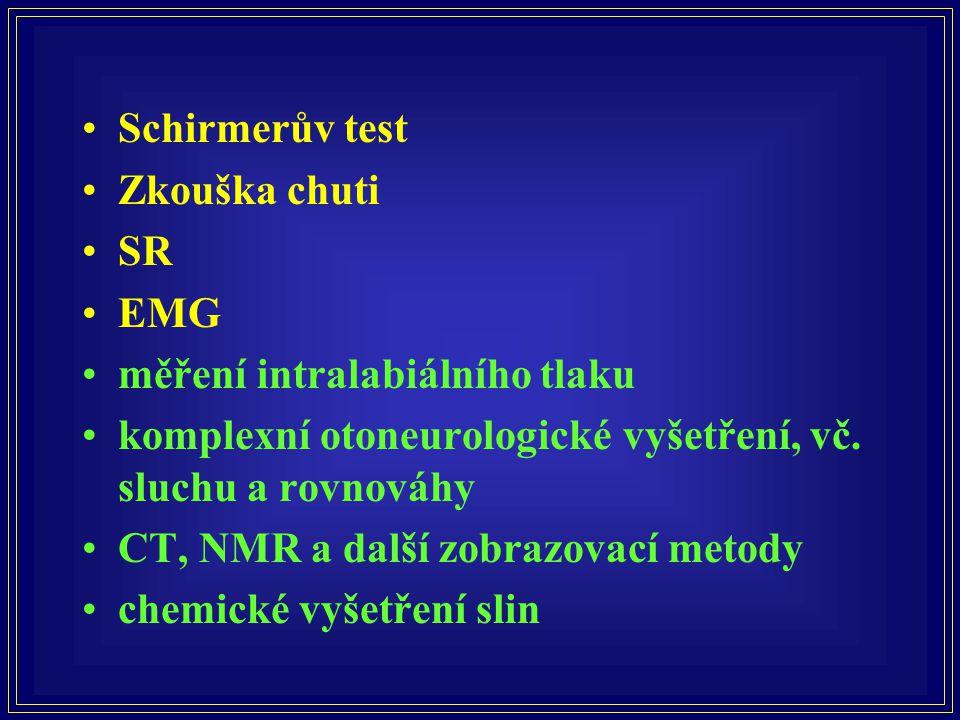Schirmerův test Zkouška chuti. SR. EMG. měření intralabiálního tlaku. komplexní otoneurologické vyšetření, vč. sluchu a rovnováhy.
