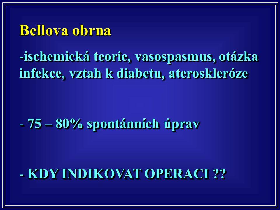 Bellova obrna ischemická teorie, vasospasmus, otázka infekce, vztah k diabetu, ateroskleróze. 75 – 80% spontánních úprav.