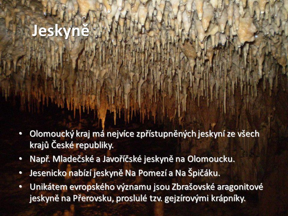Jeskyně Jeskyně. Olomoucký kraj má nejvíce zpřístupněných jeskyní ze všech krajů České republiky.