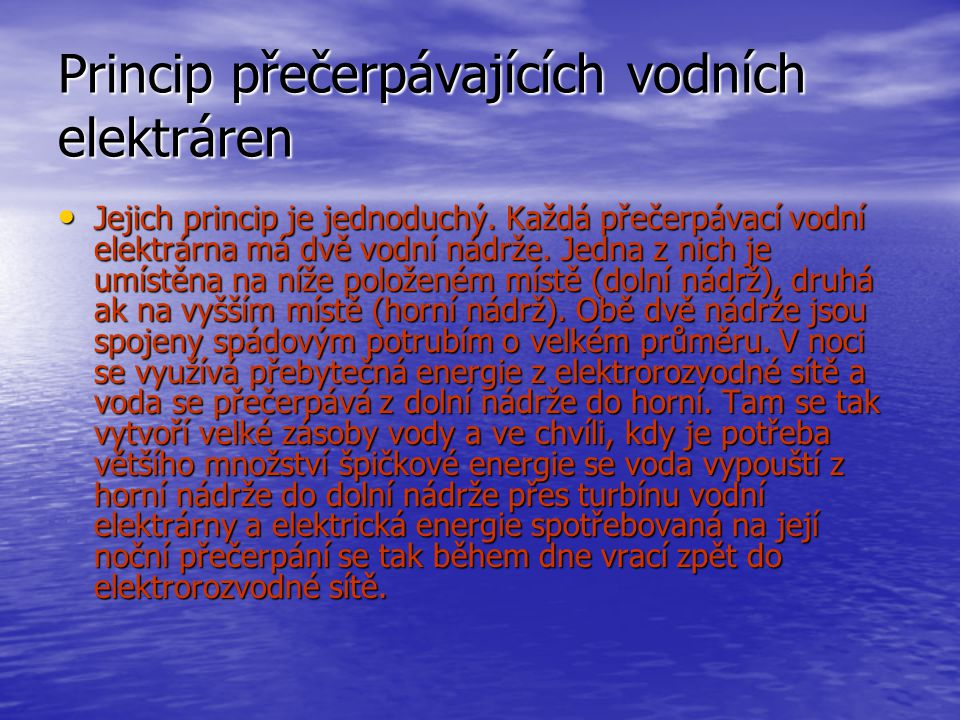 Princip přečerpávajících vodních elektráren