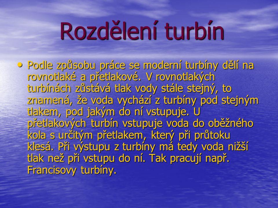 Rozdělení turbín