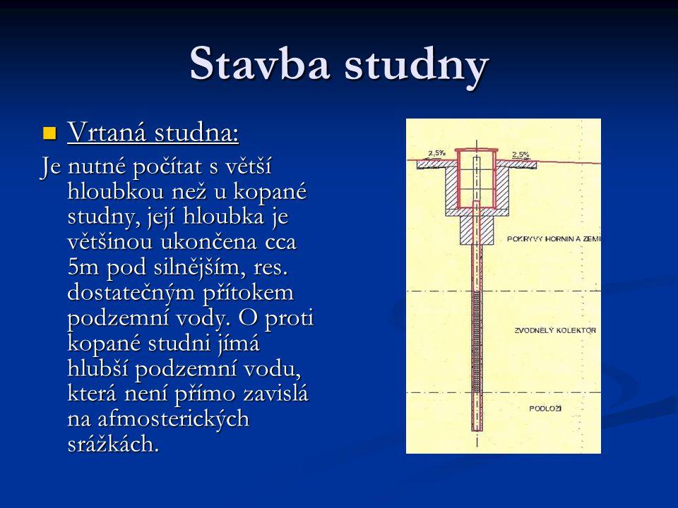 Stavba studny Vrtaná studna: