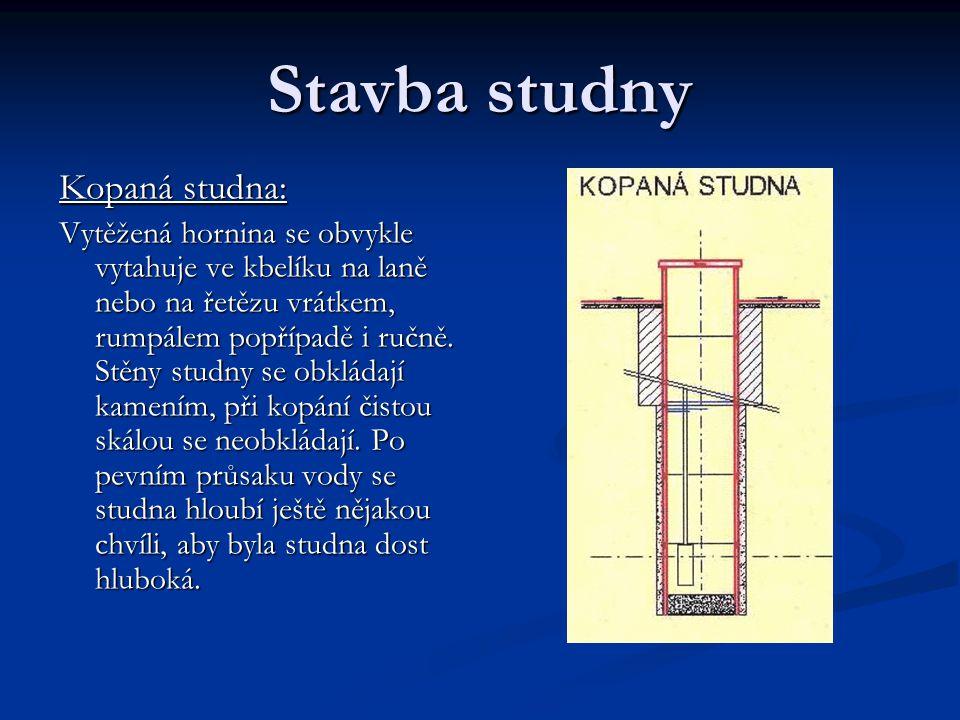 Stavba studny Kopaná studna: