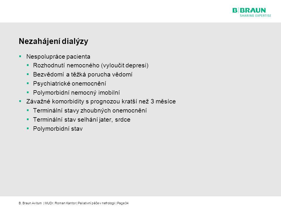 Nezahájení dialýzy Nespolupráce pacienta