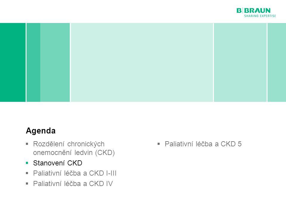 Agenda Stanovení CKD Rozdělení chronických onemocnění ledvin (CKD)