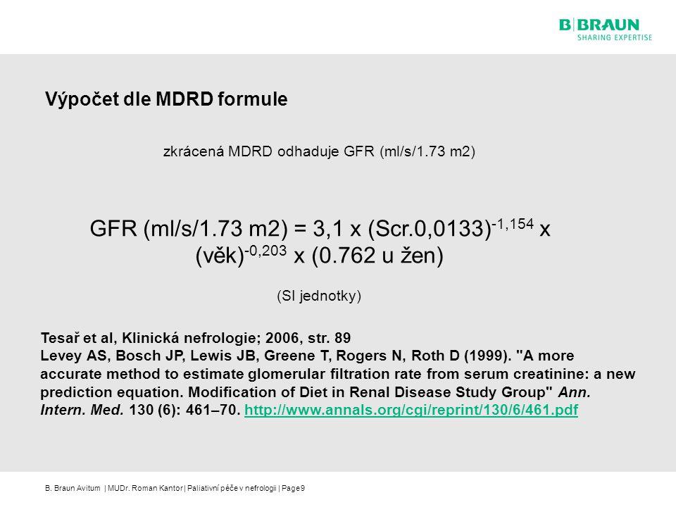 Výpočet dle MDRD formule