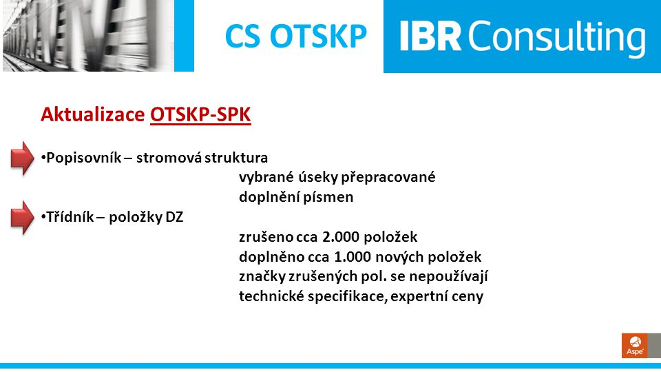 CS OTSKP Aktualizace OTSKP-SPK Popisovník – stromová struktura