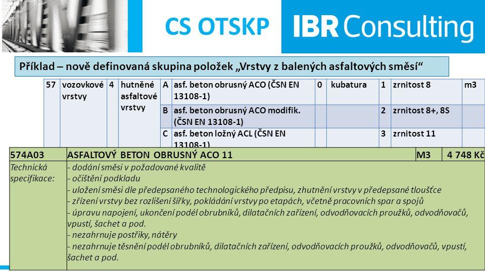 """CS OTSKP Příklad – nově definovaná skupina položek """"Vrstvy z balených asfaltových směsí 57. vozovkové vrstvy."""