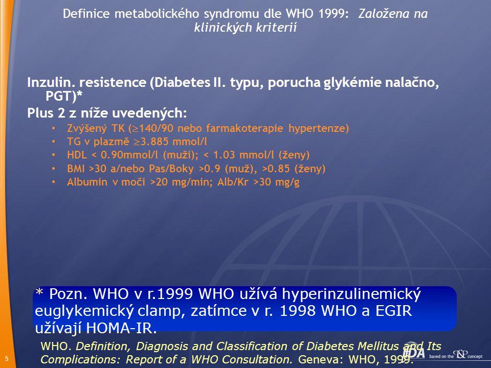 Definice metabolického syndromu dle WHO 1999: Založena na klinických kriterií