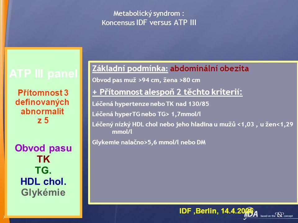Metabolický syndrom : Koncensus IDF versus ATP III