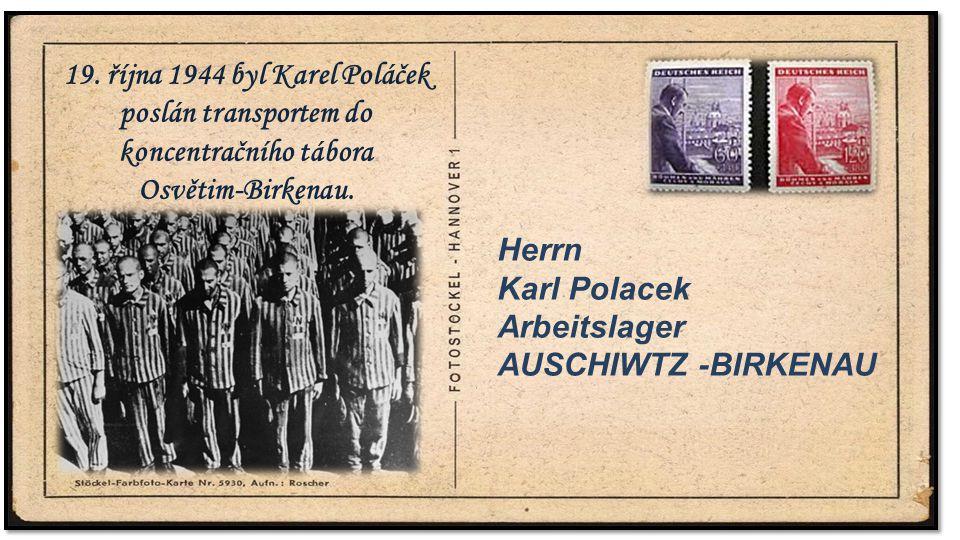 . 19. října 1944 byl Karel Poláček poslán transportem do koncentračního tábora. Osvětim-Birkenau. .