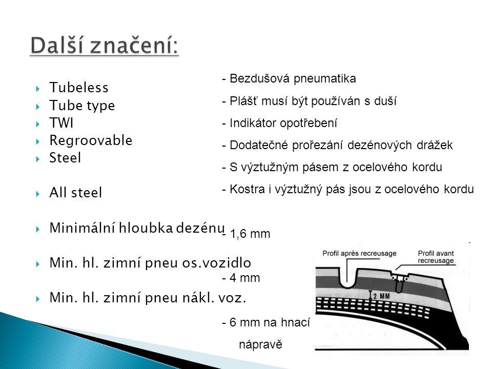Další značení: Tubeless Tube type TWI Regroovable Steel All steel